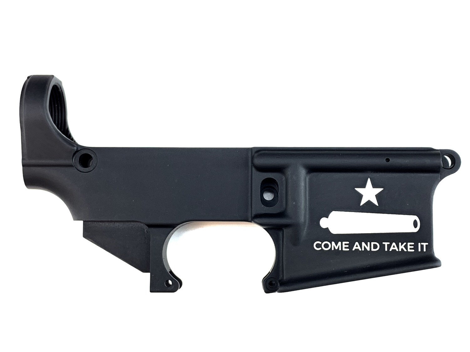 """AR-15 80% Gonzales Flag """"Come And Take It"""" Lower Receiver - Black Anodized Forged 5.56/.223"""