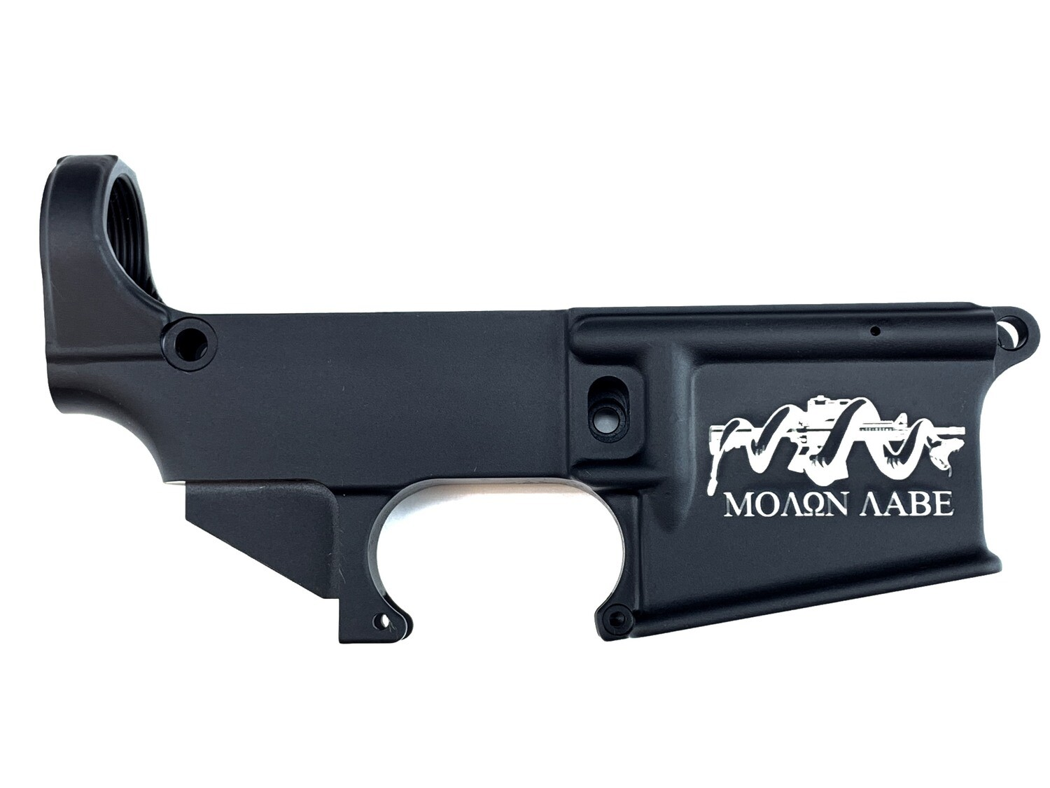 """AR-15 80% """"Molon Labe Snake"""" Lower Receiver - Black Anodized Forged 5.56/.223"""