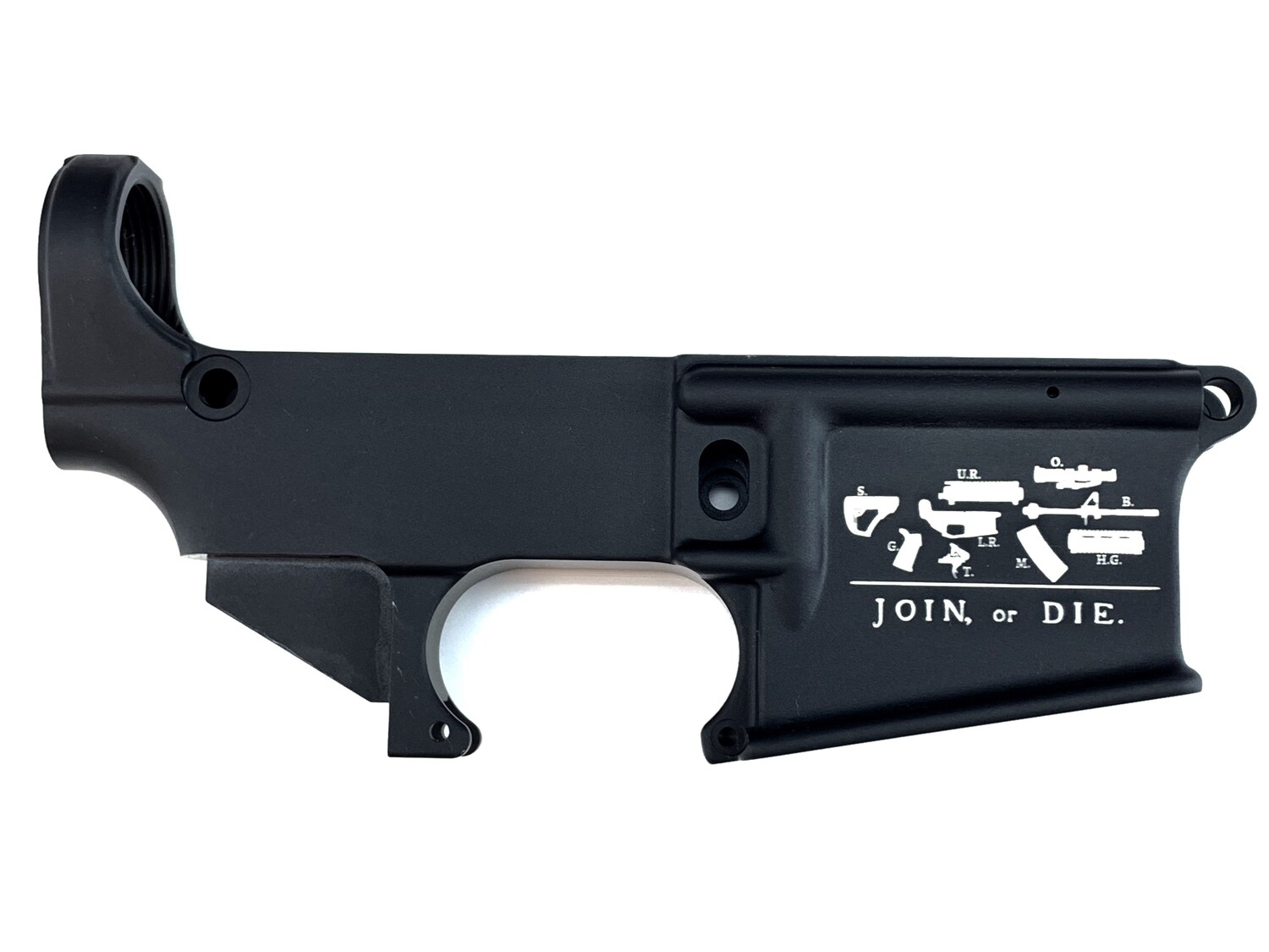 """AR-15 80% """"Join Or Die"""" Lower Receiver - Black Anodized Forged 5.56/.223"""