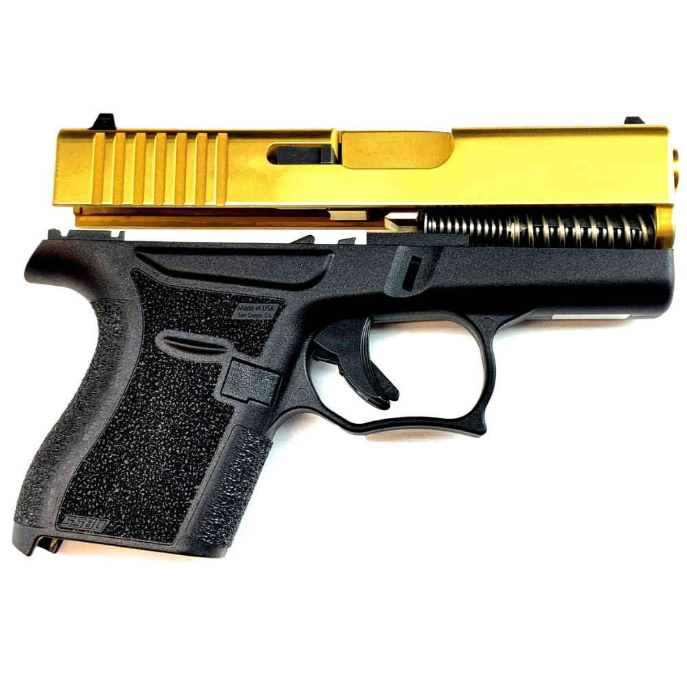 80% Glock 43 Subcompact Full Pistol Build Kit - Tin Gold / Black - FRAME NOT INCLUDED