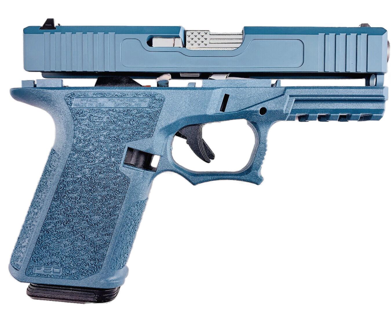 "Patriot G19 80% Stainless ""U.S. Flag"" Pistol Build Kit 9mm - Polymer80 PF940C - Jesse James Blue"