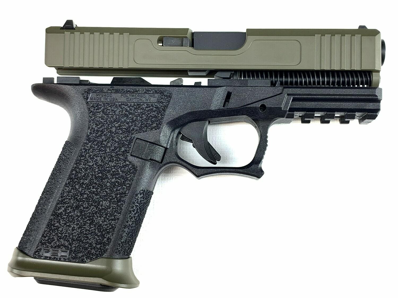 Patriot G19 80% Pistol Build Kit 9mm - Polymer80 PF940C Black - OD Green Slide - Steel City Arsenal Magwell OD Green