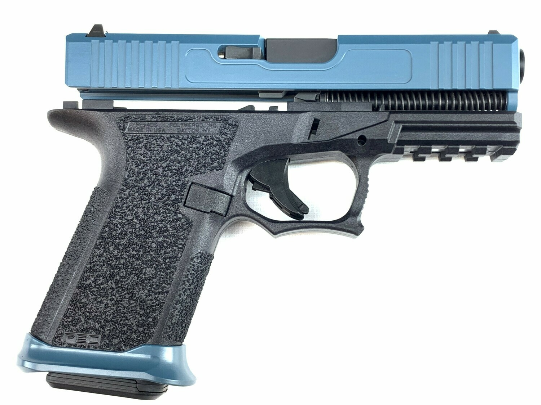 Patriot G19 80% Pistol Build Kit - Jesse James Blue Slide & Black Lower Frame - 9mm - Polymer80 PF940C - Steel City Arsenal Magwell