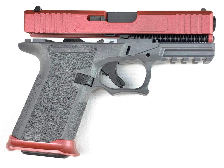 Patriot G19 80% Pistol Build Kit 9mm - Polymer80 PF940C - Warrior Metal Flake Red - Steel City Arsenal Magwell Warrior Metal Flake Red