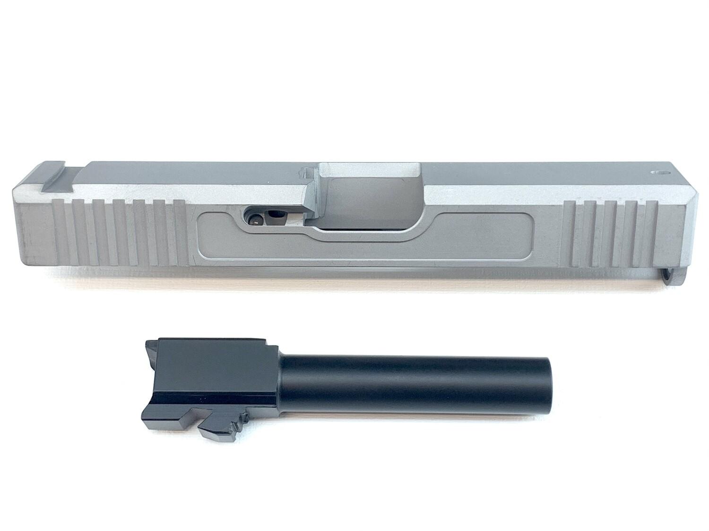 """""""Glock G17 9mm Builder Pack Raw Slide Uncoated w/ Front & Rear Serrations - Recessed Windows - Black Nitride Barrel - Pick Your Slide Color"""