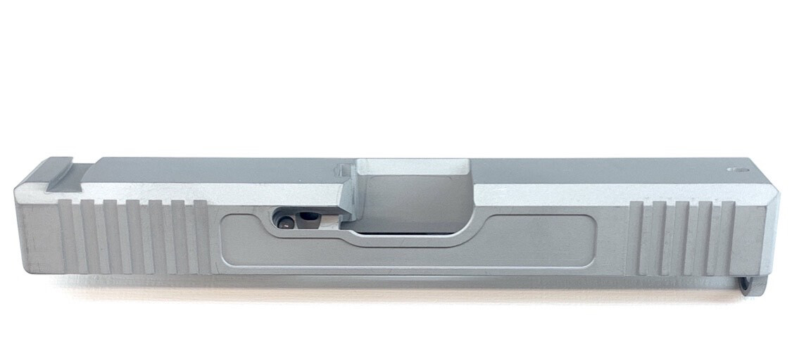 """Glock G19 Builder Slide Raw & Uncoated "" Front & Back Serrations - Recessed Windows On Each Side - Or Pick Your Color"