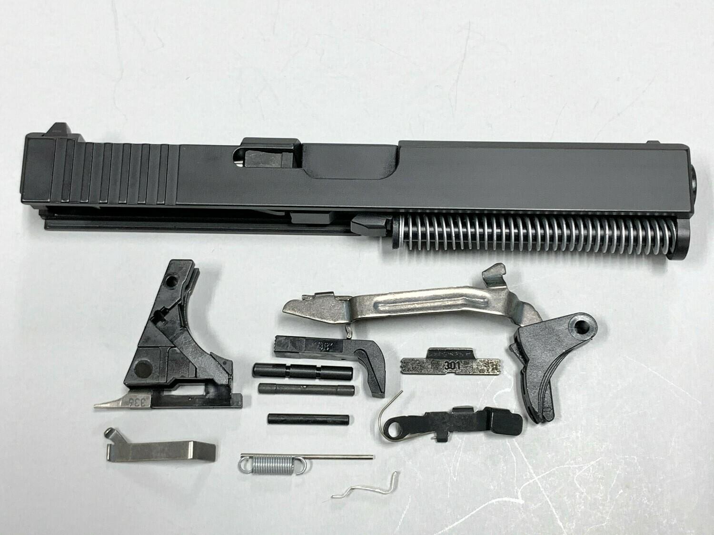 Glock 17 Complete Built Slide w/ Rear Serrations - RMR Trijicon Cut - Color Black - Comes With G17 Lower Parts Kit