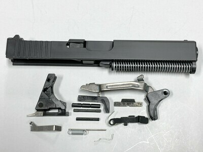 Glock 17 Complete Built Slide w/ Rear Serrations - RMR Trijicon Cut - Color Black - Comes With G17 Lower Parts Kit