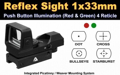 AIM Sports Inc Full-sized 1x33mm Red Dot Reflex Sigh RT5-03F, Color: Black, Battery Type: CR2032, 30% Off After Instant Rebate