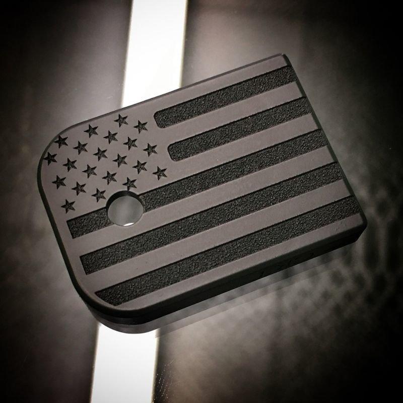 American Flag BLACKOUT - Titanium Mag Plate- BLK Cerakoted