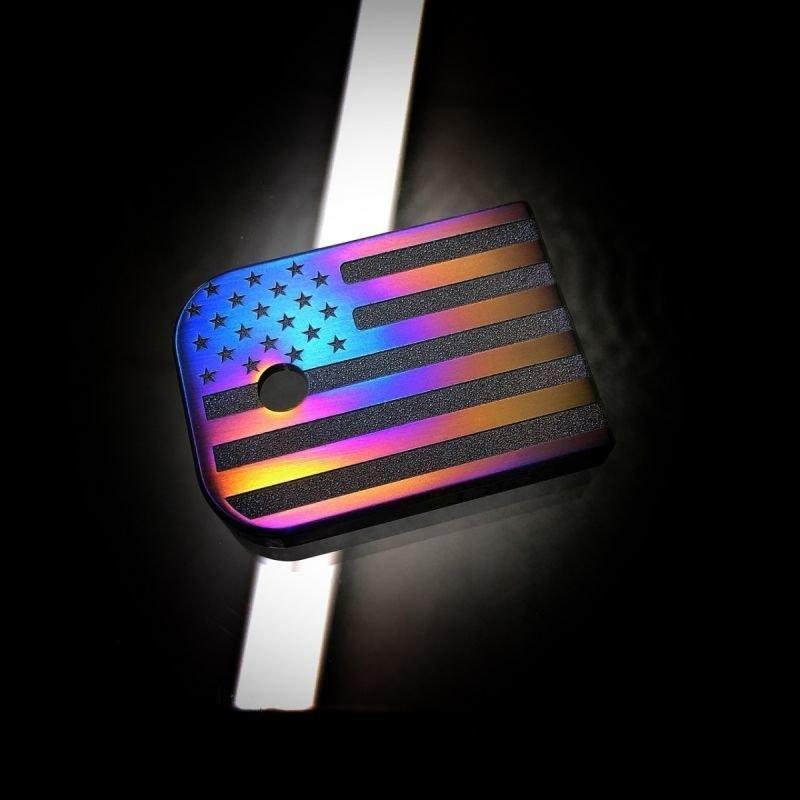 American Flag Flame Anodized - Titanium Mag Plate