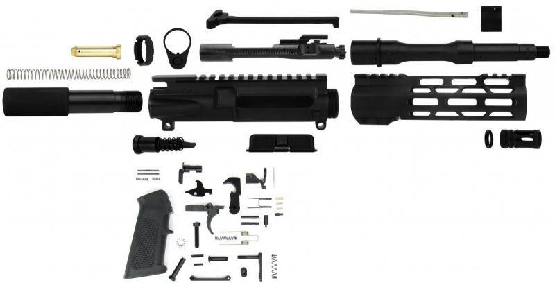 "AR-15 Unassembled Pistol Kit - 7.62x39 NATO 7.5"" Barrel w/ BCG & Charging Handle"
