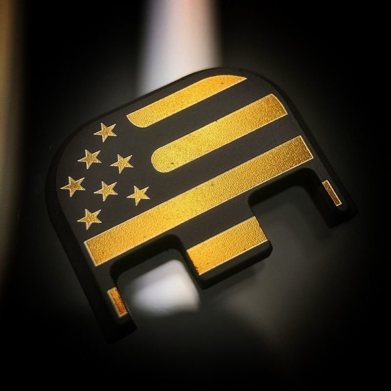 American Flag Back End Plate - Black Cerakoted - Titanium Gold