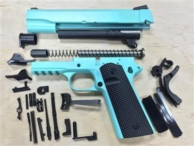 1911 Tactical 80% Builders Kit Pick Your Pistol Caliber - Color Tiffany Blue Cerakote