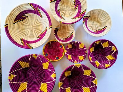 African Handwoven Basket | Wall Decor | Fruit Basket | Jewelery Holder
