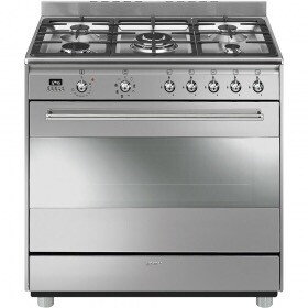 SMEG 90cm 5 burner Stainless Steel Concert Cooker With Electric Oven