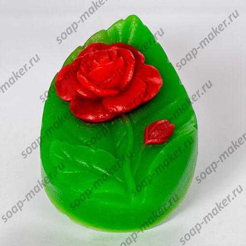 Листочек с розой 2D