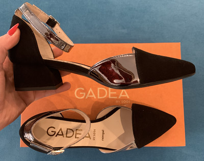 Black Suede Slingback Silver Ankle Strap