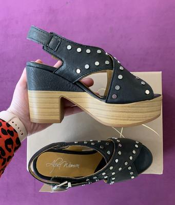 Black Criss Cross Studded Sandal