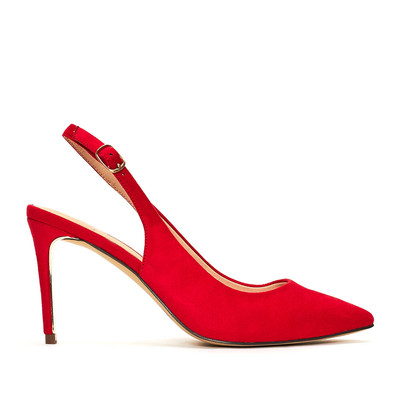 Brilliant Red Suede Slingback Shoe