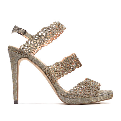 Grey Diamante Strappy Slingback
