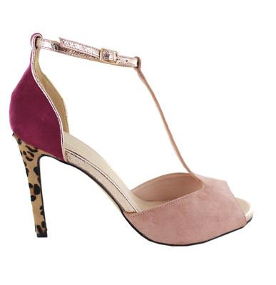Nude / Plum Strappy Leopard Heel Sandal