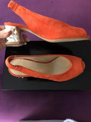 4642 Tangerine Suede Peep Toe Slingback