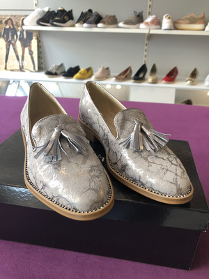 4668 Grey Tassel Brogue With Diamonte Detail