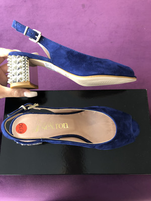 4639 Navy Suede Peep Toe Sling Back
