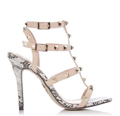 Yara Natural Snakeskin Studded Strap Heeled Sandal