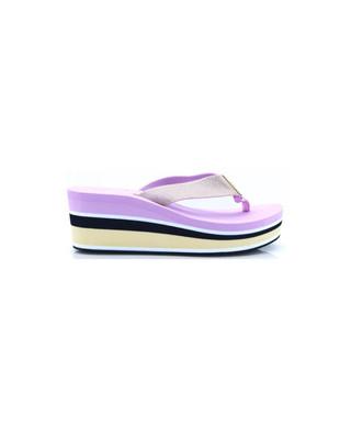 Pink Lavender High Wedge Metallic Beach Sandal