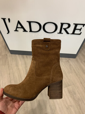 Camel Suede Ankle Boot