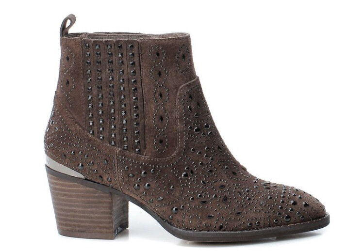 Suede Camel Studded Ankle Boot