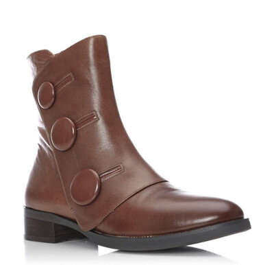 Critch Tan Leather Button Side Foldover Boot