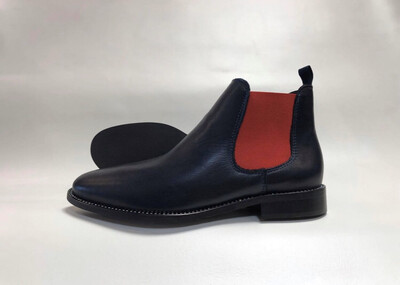 4221 Navy & Red Leather Boot