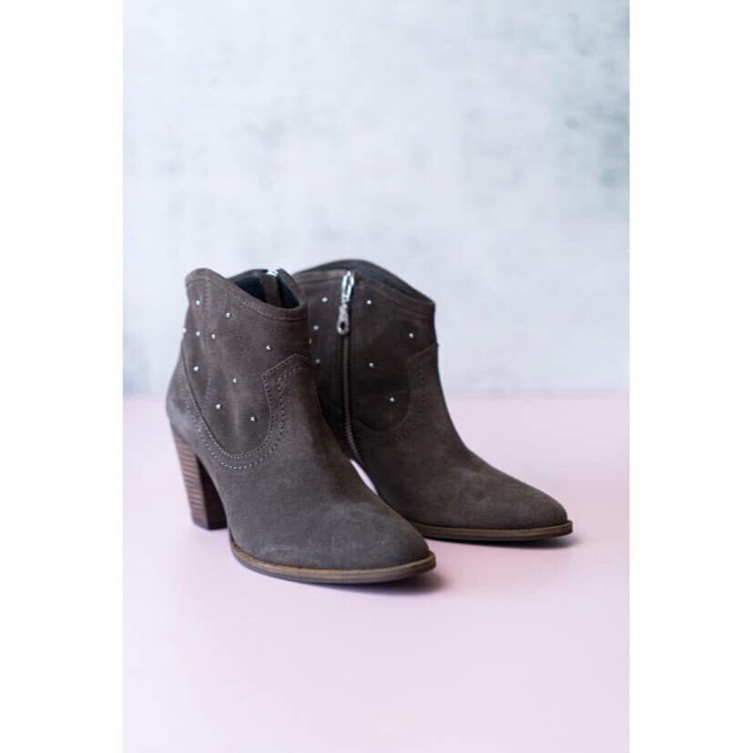 Dala Storm Grey Stud Detail Ankle Boot
