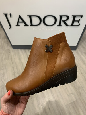 Tan Leather Low Wedge Ankle Boot