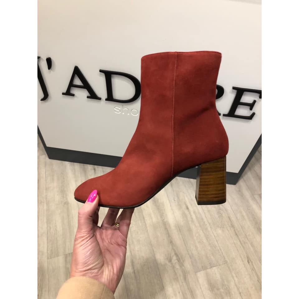 Fay Brick Stack Heel Square Toe Ankle Boot