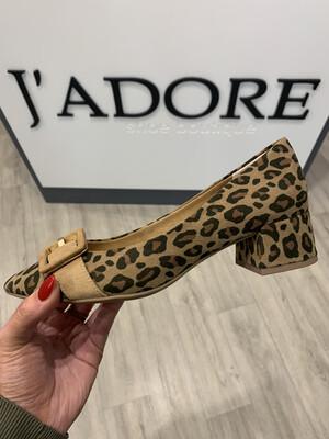 Leopard Block Heel Shoe