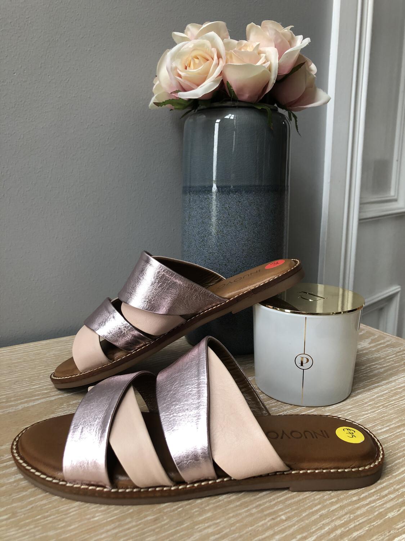 Blush Pink & Lavender Leather Sandal