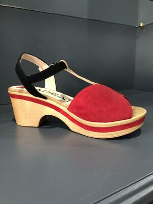 Tristan Red & Black Suede Slingback Sandal
