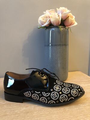 Marian - 28705 Black Patent Embellished Brogue