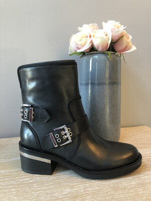 Black Leather Biker Boot with Silver Buckle Detail