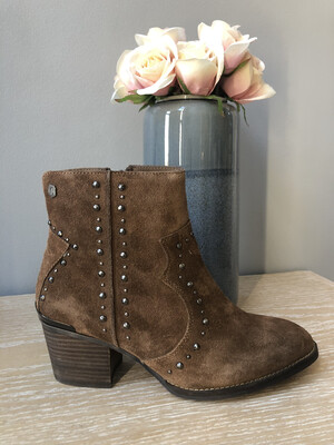 Camel Suede Studded Ankle Boot