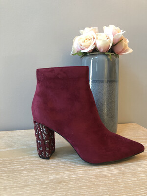 Ruby Suede Ankle Boot Diamante Heel