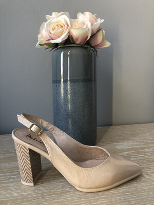Nude Leather Patent Block Heel Slingback