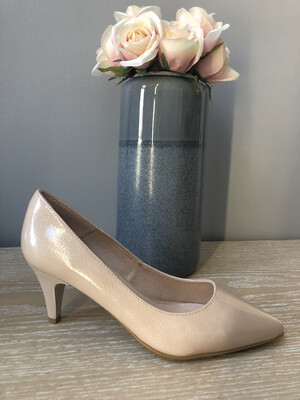Nude Leather Low Heel Court Shoe