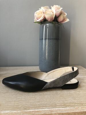 Helsinki Black & Silver Leather Slingback
