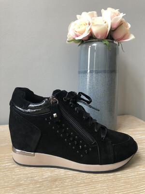 Black Suede Laced Wedge Trainer