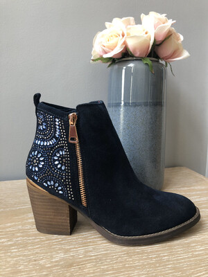 Navy Embellished Ankle Boot
